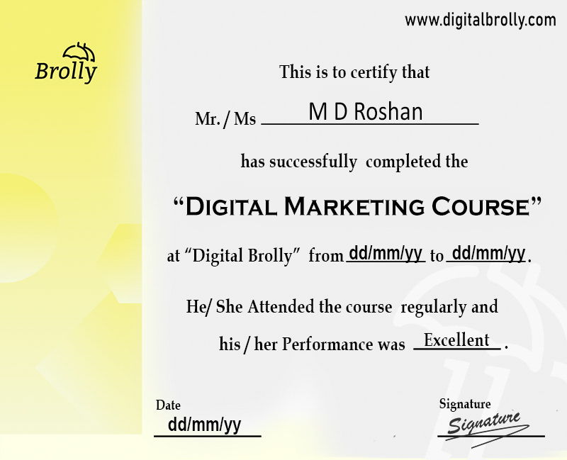 digital marketing course certification