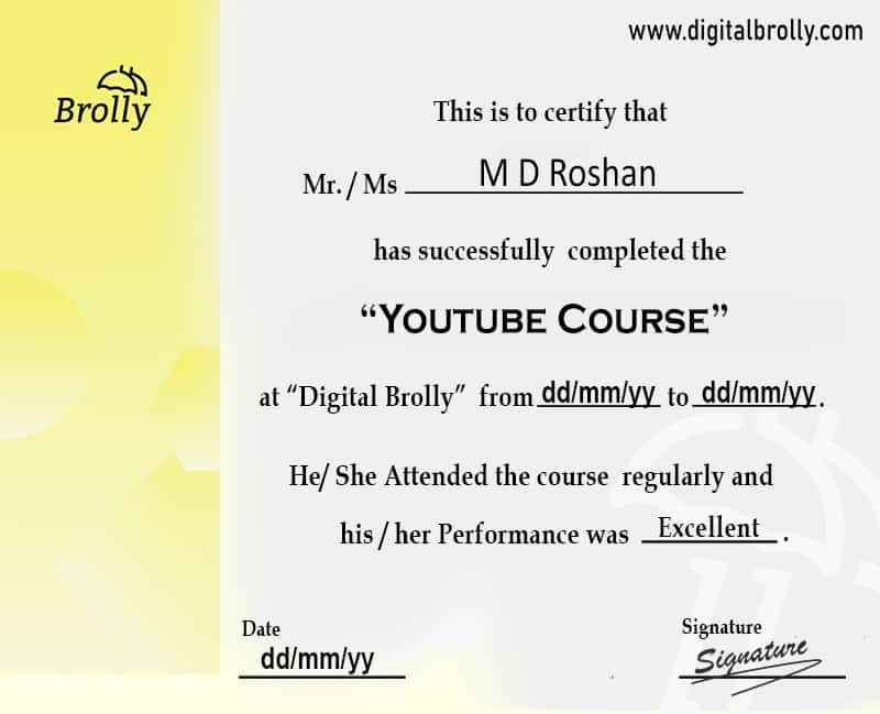 Youtube course certificate