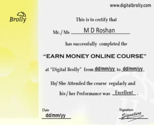 Earn Money Online Course Certification sample
